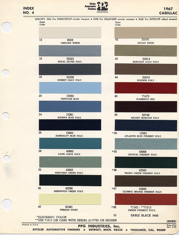 1967 Cadillac Paint Color Chart
