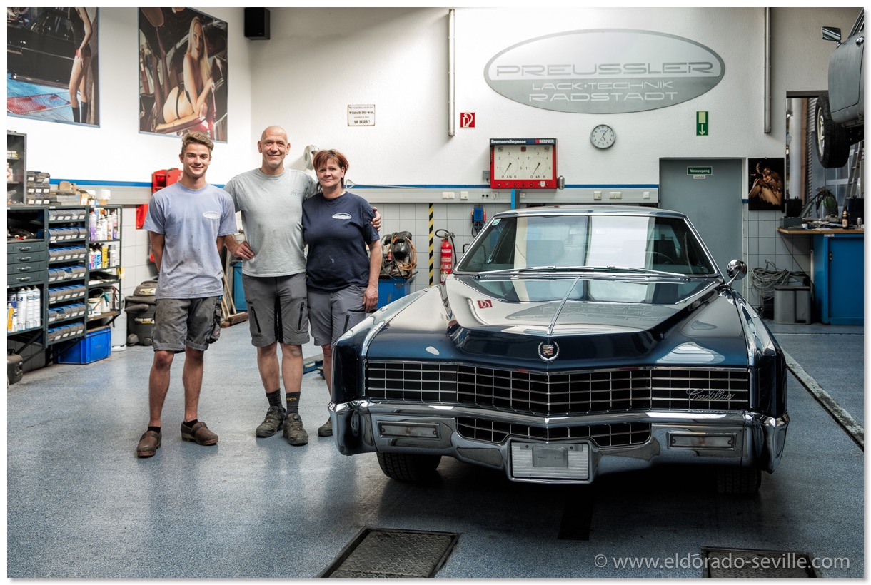 the small team which restored my cadillac  thank you so much for your great  work! you are my heroes! michael hammer, bernd preussler, angela steiner  (from
